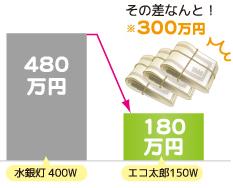 水銀灯とLVD無電極ランプとの電力量の差